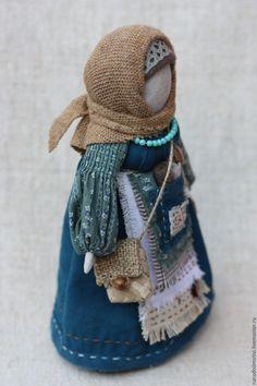 Купить Народная кукла Успешница (синий, бирюзовый, бежевый) - тёмно-бирюзовый, народная кукла, успешница