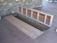 Keller Perfect for a deck to store the cushions, hose, etc - but make it match so it's hidden Top 5 Basement Steps, Basement Entrance, Bilco Doors, Sas Entree, Hatch Door, Deck Over, Deck Storage, Storage Area, Trap Door