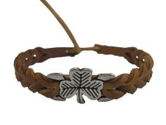 """Braided Leather Celtic Bracelet - Shamrock - Lt. Brown Amethyst Dublin. $7.95. Genuine Leather. Bracelet is approximately 6 1/2"""" long not including fastener. Metal bead woven onto leather is approximately 3/4"""" wide.. Fastens by tying a knot through a loop."""