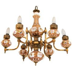 19th C. Brass and Porcelain Oil Chandelier | 1stdibs.com