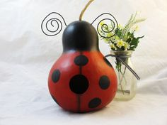 Lady Bug Gourd Bird House handpainted by KaoriKreations