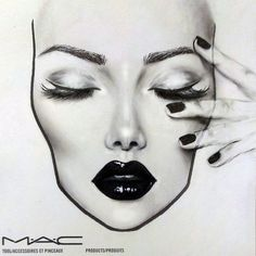 B&w. #facechart #maccosmetics #blacklips #falselashes #eyeliner