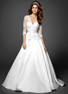 Bebe lace 3/4-sleeve princess wedding dress - similar to Kate Middleton's