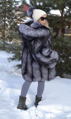 Верхняя одежда ручной работы. Шуба из меха скандинавской серебристой лисы Saga Royal. Zimma. Ярмарка Мастеров.