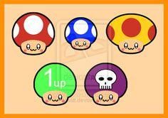 Super Mario Mushrooms by hallatt on DeviantArt Mushroom Tattoos, Mario And Luigi, Super Mario, Cool Designs, Stuffed Mushrooms, Nail, Deviantart, Drawings, Fun