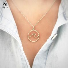 Waves Necklace Pendant With Chain Beach Nautical Surfing Jewelry Choker Necklaces For Surfers Jewelry Ocean Life Necklace Necklaces & Pendants