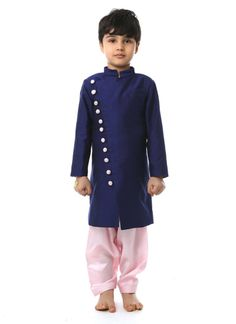 Charming Purple Silk Cotton Kurta Pyjama #kidswear #indian