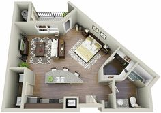 Space Saving Studio Layout Interior Design Ideas Apartment Idea