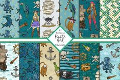 Pirate Girl patterns by Kulati on Mermaid Clipart, Girl Clipart, Journal Stickers, Planner Stickers, Pirate Illustration, Pirate Images, Girl Pirates, Skull And Bones, Sticker Design
