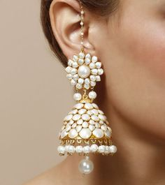 white jhumka, traditional design