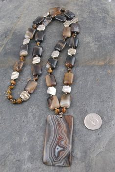 Boho Artisan Necklace Handmade with Brown Striped Agate Pendant and Strand, Pewter Accents and Bonus Earrings Boho Necklace, Boho Jewelry, Beaded Jewelry, Unique Jewelry, Jewelry Accessories, Jewelry Design, Beaded Bracelets, Soutache Jewelry, Leaf Earrings