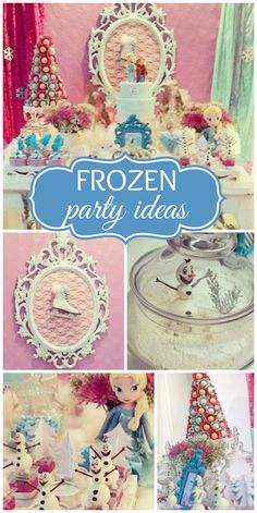 A Frozen girl birthday party with a beautiful dessert table and party decorations!  See more party planning ideas at CatchMyParty.com!