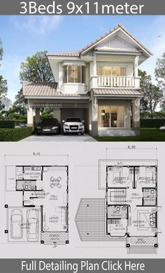 Home design plan with 3 Bedrooms - Home Ideas - House Architecture House Layout Plans, Small House Plans, House Layouts, House Floor Plans, 2 Storey House Design, Bungalow House Design, Architectural House Plans, Model House Plan, Bedroom Layouts