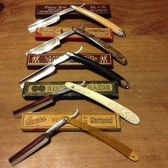 BARBER~collection of straight razors.