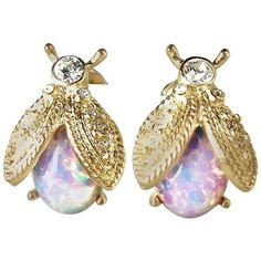 Preowned Signed Kenneth Jay Lane Kjl Opal Colorful Bee Earrings ($126) ❤ liked on Polyvore featuring jewelry, earrings, multiple, gold tone earrings, fake earrings, multi colored earrings, cabochon earrings and multi color earrings
