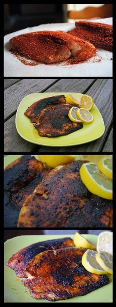 Big Daddy's Blackened Tilapia... We grilled on our Sizzle Q (google!) but u can do in a cast iron skillet.