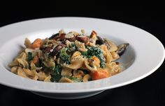 Autumn Pasta with Mushrooms, Sweet Potatoes, and Greens