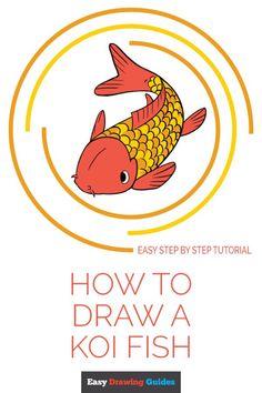 Koi Fish Drawing, Fish Drawings, Animal Drawings, Summer Drawings, Cute Cartoon Fish, Cartoon Dolphin, Cartoon Art, Drawing Tutorials For Kids, Drawing For Beginners
