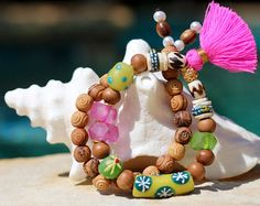 Boho Tribal Tassel Bracelet SET, Sandalwood Beads, African Trade Beads, Colorful, Beach Chic, Festival Style, Pink & Green, Stretch Bracelet