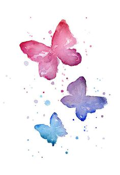 Watercolor Butterflies Print by Olga Shvartsur.  All prints are professionally printed, packaged, and shipped within 3 - 4 business days. Choose from multiple sizes and hundreds of frame and mat options.
