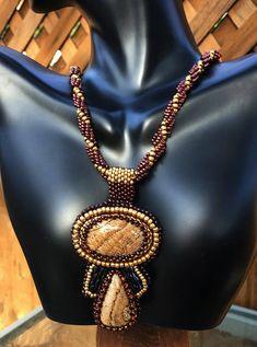 Picture Jasper Gemstone-Seed Bead Embroidery Pendant-