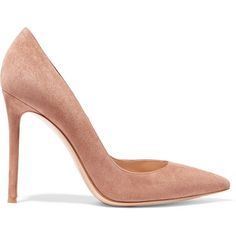 Gianvito Rossi Suede pumps (€570) ❤ liked on Polyvore featuring shoes, pumps, heels, gianvito rossi, sapatos, beige, suede slip on shoes, suede shoes, suede pumps and slip-on shoes