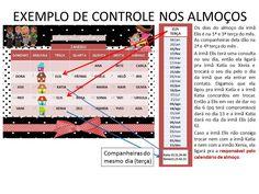 EXEMPLO DE CONTROLE DE ALMOÇOS - IMÃ DE GELADEIRA COM DATAS E TELEFONES