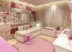 idées pour la chambre d'ado fille en rose et écru, aménagée avec un lit confortable, des armoires blanches, tapis rond rose et grand miroir mural