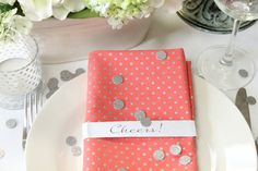 Cloth Napkins Set, Coral and Silver Fabric Napkin Table Linens, Wedding Decorations, Bridal Brunch Shower Decor, Gift Idea, Rehearsal