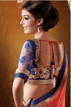 Net Sleeves used to make stylish look. stone work at back.. visit http://www.mytailor.in/