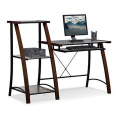 Realspace coastal ridge writing desk 31 1 8 h x 42 w x 24 1 2 d mahogany black glass office - Value city office desk ...
