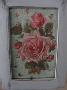 Shabby Chic Pink and Green Rose Print Romantic by Fannypippin,