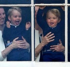 Prince George watching his parents at trooping the Color