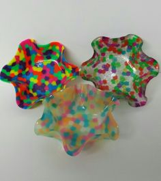 Pony beads melted in a cake pan. Then melted again over a bowl shaped pan. Created by Sara Landin.
