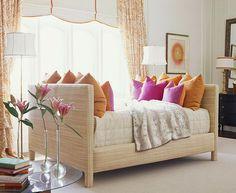 Tangerine + fuchsia + raffia-covered daybed | Eileen Kathryn Boyd | Traditional Home