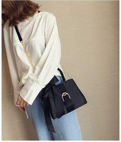 Luksusowe torby Bowknot Messenger kobiety łańcuchy torba klapowa moda damska Solid Color torby na ramię kobieta projektant czarne torebki|Torebki na ramię| - AliExpress