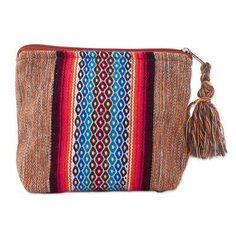 Cotton cosmetics bag, 'Altiplano Beauty' - Loom Woven Cotton Cosmetics Bag with Geometric Motif
