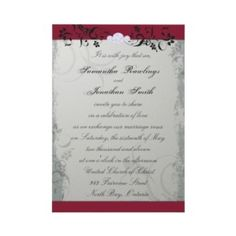 grey and red wedding invitations -