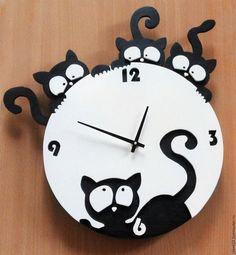 29756f29a08 Horas Para O Trabalho Manual em Casa. Mestres Fair - Feito à Mão. Compre  gatinhos Relógios. Handmade. Relógios Originais em preto-e-branco