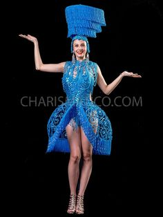 Blue Crystallized Sequin Dress Costume Set with Headdress Sequin Dress, Peplum Dress, Drag Queen Costumes, Cage Skirt, Retro Look, Costume Dress, Headdress, Dance Wear, Leotards