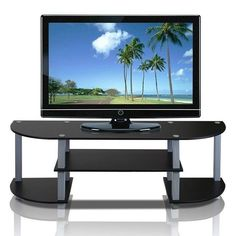 Mini Entertainment Center Small Smart TV Hub Family Room Kids Teen Gaming Stand #Furinno #Contemporary