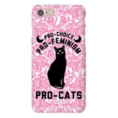 "Pro-Choice Pro-Feminism Pro-Cats - Let the world know that your not willing to take any of the Patriarchy's crap! Show that you support women's rights, equality and pussy cats with this design that features an illustration of a cat, moons and the phrase ""Pro-choice, pro-feminism, pro-cats."""
