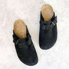 Birkenstock Shoes | Birkenstock Boston Solid Black Suede Clogs 38 N | Poshmark Brown Leather Wedges, Dark Brown Leather, Black Suede, Suede Loafers, Leather Clogs, Black Birkenstock, Birkenstock Boston, Witch Shoes