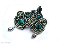 • Hand Made kolczyki, biżuteria - szmaragdowe kolczyki sutasz