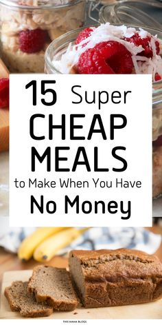 Running out of cash and you need to stretch your dollars to get by until your next paycheck arrives? Need ideas on food to eat when you are broke? Broke or not, we love these dirt cheap meals! They not only cheap, they are also easy to make, and delicious! Add these dirt cheap meals to your frugal meal plan and save money! cheap breakfast ideas , cheap breakfast ideas healthy , cheap breakfast ideas budget Super Cheap Meals, Dirt Cheap Meals, Cheap Meals To Make, Food To Make, Save Money On Groceries, Frugal Meals, Foods To Eat, Meal Planning, Saving Money