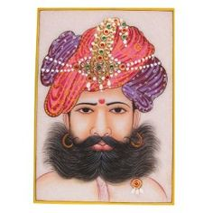 Painting From India Embossed Miniature Painting On Marble Plate Of The Indian Maharaja With A Turban: Amazon.co.uk: Kitchen & Home