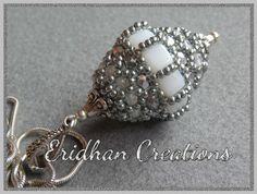 Beaded bead pattern for purchase Eridhan white silver