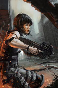Future Girl, Cyberpunk, Girl with Gun, Weapon, Armor, Military, Sci-Fi, Girl Warrior, Post Apocalyptic