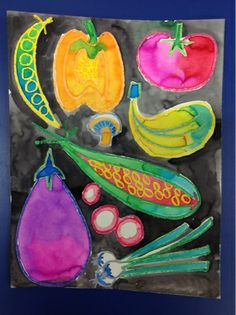 Mrs. Knight's Smartest Artists: watercolor vegetables (Miroco Machiko)