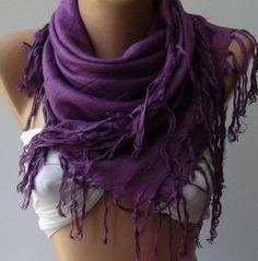 Purple  Silk Shawl / Scarf by womann on Etsy, $15.50